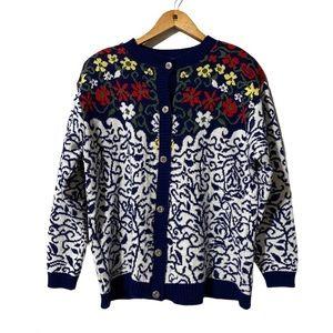 Vintage D'allaird's Floral Design Cardigan size M